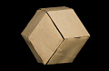 View Geometric Model by A. Harry Wheeler, Rhombic Dodecahedron Transformable into Rhombic Dodecahedron, Dissected Polyhedron digital asset: Geometric Model, Dissected Polyhedron - Rhombic Dodecahedron Transformed into Itself (tan side out)