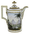 View Meissen porcelain coffeepot and cover (part of a service) digital asset: Meissen coffeepot, landscapes with Egyptian subjects, ca 1805-1815