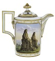 View Meissen milk pot and cover digital asset: Meissen milk pot, landscapes with Egyptian subjects, ca 1805-1815