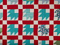 "View 1940 - 1960 Mandy Ary's ""Maple Leaf"" Pieced Quilt digital asset: Quilt, Maple Leaf, Detail"