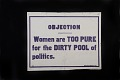 "View Woman Suffrage ""Objection"" Banner digital asset: banner, women's suffrage"