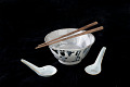 View chopsticks, set digital asset: bowl, spoons and chopsticks