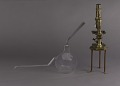 View Pasteur Flask digital asset: Culture flask and microscope arranged in the manner of Pasteur's set up from Etudes sur la Biere