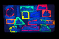 View Signboard, Pass the Acid Test digital asset: Signboard used by Ken Kesey to advertise events with the Merry Pranksters, 'Can You Pass the Acid Test?', back view. Object photographed under black lights. Copyright Ronald K. Bevirt.