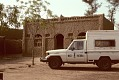 View Musee National truck in front of building, Dogon region, Mali digital asset: Vernacular architecture