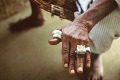 View Simon Ottenberg photographs of Limba and Afikpo Peoples digital asset: Silver rings worn on left hand fingers of Alimamy Salifu Mansaray, Chief of Wara Wara Bafodea Chiefdom, Bafodea Town, Sierra Leone