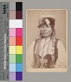 View Portrait of Young Man with Wrapped Braids, Ornaments, Hairpipe Breastplate, and Fur Hat 1867-73 digital asset number 0