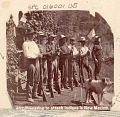 View Seven Non-Native Men, Soldiers ?, with Rifles, Bayonets, And American Flag, Preparing for Indian Attack n.d digital asset number 0