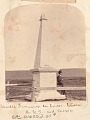 View Marble Monument Erected by Emery Survey in 1853 Marking Boundary Between Mexico and USA; Man with Rifle Nearby n.d digital asset number 0