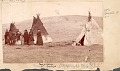View Mrs E. S. Barry with Dakota Indians Outside Cloth-Covered Tipis n.d digital asset number 0