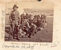 View Group of Men, Army Scouts Recruited for Modoc War, in Military Uniform and with Guns; Tents in Background Near Tule Lake digital asset: Group of Men, Army Scouts Recruited for Modoc War, in Military Uniform and with Guns; Tents in Background Near Tule Lake.