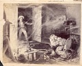 View Painting, by James Earl Taylor in 1886, of Non-Native Man Entering his Wood Frame House to Find his Wife and Infant Killed by Arrows; Bed, Spinning Wheel, Kitchen Utensils Nearby n.d digital asset number 0