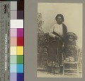 View Portrait of woman with blanket beside infant in cradleboard on chair Copyright 08 DEC 1906 digital asset number 3