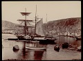 View Sailing ships in harbor near village and mountains, with three boys and smaller boats nearby 1892 digital asset number 0