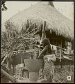 View Choco Woman in Costume with Infant on Back and Pounding Rice With Large Wood Pestle in Wood Mortar, Outside Platform House With Thatch Roof 1923 digital asset number 1
