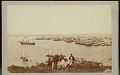 View Three Men, Two in Unifrom, on Hill Overlooking Water, Sailing Ships, Harbor and City n.d digital asset number 0