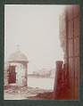 View Gate, Cannon, and Sentry Box with View of Fort Across San Juan Bay 1901 digital asset number 1
