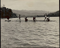 View Group in Costume, Crossing River on Raft Made of Cane Tied Together with Narrow Strips of Cane 1954 digital asset number 1
