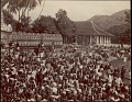 View Sinhalese people gathered for a ceremony, possibly Festival at Dalada Maligawa or Temple of Buddha's Tooth, undated digital asset number 0