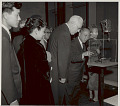 View Group, Including Chief Justice Earl Waren, Ambassador You Chan Yang, and Madame Yang, Viewing Exhibit of Korean Art at National Gallery of Art 1957 digital asset number 1