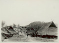 View View of Village Showing Plank Houses with Thatch Gabled Roofs; Chickens and Group in Costume in Street 1931 digital asset number 1