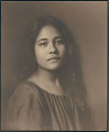 "View Portrait of Hawaiian girl, titled ""'Girlhood (front view)"" 1909 digital asset number 0"