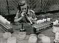 View Barbara Sinclair, Non-Native Dentist, Preparing Saliva Tests In Glass Test Tubes Outside Pole and Thatch Building with Woven Mat Walls 1947 digital asset number 1