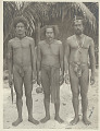 View Three Men Wearing Breechcloths and with Ornaments, Knife, And Ball of String digital asset: Three Men Wearing Breechcloths and with Ornaments, Knife, And Ball of String