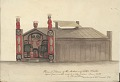 View James G. Swan drawings of Tlingit house and salmon carving digital asset: Model of Plank House with Painted Entrance Way Painting