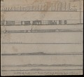 View Northwest River post and scenery by an Eskimo digital asset: Eskimo Pictograph Depicting Northwest River Post Showing Corn Fields, Graveyard, Signal Tower, Tents, Houses, Missionary Church, Fence, and Various Topographic Features Including Hills and Stream Drawing