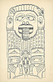 View Totem, Wood:Yellow Cedar:Bear and Bird?:Carved By Alfred Benson at Mission House, Sitka, Alaska 24 OCT 1894 Drawing digital asset number 0