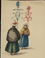 View Two South American Women in Costume, Carrying Ornamented Ceremonial? Standards n.d. Painting digital asset number 1