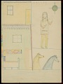 View Indian in Dancing Attire in Religious House Drawing digital asset: Indian in Dancing Attire in Religious House Drawing
