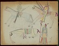 View Takzi drawing of white man and Indian with shield on horseback, and another warrior with shield standing by fallen horse digital asset: Takzi drawing of white man and Indian with shield on horseback, and another warrior with shield standing by fallen horse
