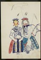View Lean Wolf drawing of a front view of himself and another man, both seated and dressed in elegant regalia, 1881 digital asset number 1