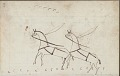 View Anonymous drawing, probably Lakota or Cheyenne, of warfare scene, with warrior shown having counted coup with his bow on a White man and on two horses in harness on the facing page digital asset: Anonymous drawing, probably Lakota or Cheyenne, of warfare scene, with warrior shown having counted coup with his bow on a White man and on two horses in harness on the facing page