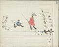 View Kiowa drawing, possibly by Koba or Etadleuh, of Kiowa and Apache warriors attacking a Mexican wagon train digital asset: Kiowa drawing, possibly by Koba or Etadleuh, of Kiowa and Apache warriors attacking a Mexican wagon train
