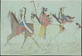 View Kiowa drawing, possibly by Koba or Etahdleuh, of three mounted men digital asset: Kiowa drawing, possibly by Koba or Etahdleuh, of three mounted men
