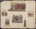 View Four Expedition Members and Women Outside Tent; American Flag Raised in Tent; Horse Trapping Hanging from Post; Powell Expedition 1871 digital asset number 1