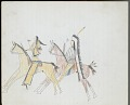View Anonymous Kiowa drawing of three men on horseback, with two carrying firearms and the third carrying a shield and a lance digital asset: Anonymous Kiowa drawing of three men on horseback, with two carrying firearms and the third carrying a shield and a lance