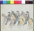 View Anonymous Kiowa drawing of mounted Indian scouts in uniform digital asset: Anonymous Kiowa drawing of mounted Indian scouts in uniform
