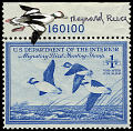 View $1 Buffleheads in Flight revenue stamp remarque single digital asset number 0