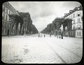 View [Miscellaneous Sites in France, Series 1]: an unidentified streetscape with rail or trolley tracks, probably in Paris. digital asset: [Miscellaneous Sites in France, Series 1] [glass negative and lantern slide]: an unidentified streetscape with rail or trolley tracks, probably in Paris.