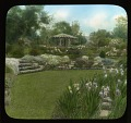 View [Breeze Hill]: gazebo with stone walls, stone stairs, hillside planting, and irises. digital asset: [Breeze Hill] [lantern slide]: gazebo with stone walls, stone stairs, hillside planting, and irises.