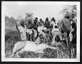 View Smithsonian-Chrysler Expedition to East Africa, 1926 digital asset: Hunters with giraffe in foreground, 1926 [Image No. SIA2008-2312]