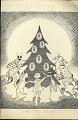 View Doris Holmes Blake Papers digital asset: Draft of holiday card drawn by Doris Holmes Blake showing lightning bugs lighting Christmas tree. [Image no. SIA2011-0016]