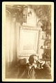 View Collection Records digital asset: John Gellatly seating in room with birdcage and framed picture (item 1). (Image no. SIA2016-009613)