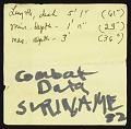 View Combat data, Suriname, notes, 1982 digital asset number 0