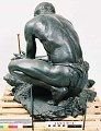 "View Bronze Statue & Base - ""Le Feu"" or ""The Fire Maker"", by Herbert Ward digital asset number 4"