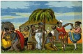 View [African American group dancing near a palm tree, No. 14940 [color cartoon on postcard] digital asset: [African American group dancing near a palm tree, No. 14940 [color cartoon on postcard]